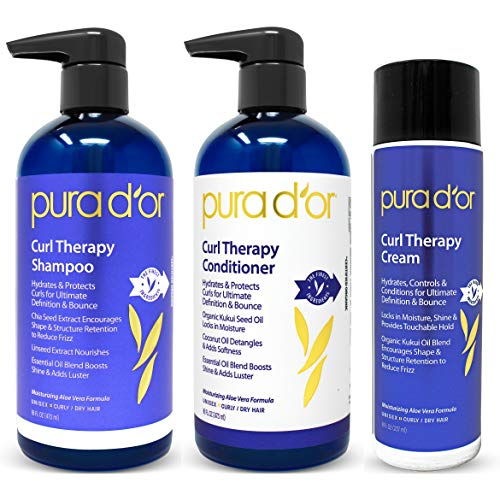 PURA D OR Curl Therapy Shampoo, Conditioner, and Styling Cream 3-Piece Set – For Styling Natural and Treated Curls, Gentle Sulfate Free with Natural Ingredients, Men Women Packaging may vary