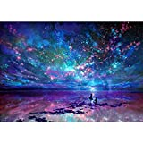 DIY 5D Diamond Painting Kit Round Diamond Sticker Stitch Painting Sets Full Drill Painting Arts Craft for Home Wall Decor (Blue Starry Sky)