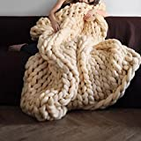 Polyester Fibre Super Chunky Knitted Blanket Arm Knit Blanket Giant Knitting Throw Blanket Full Queen Bedspread Handmade Blanket Perfect as Gift 51''x67''