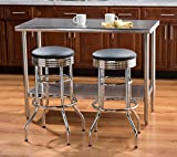 TRINITY 29″ Chrome Swivel Barstool ‐ Black – 2pk (non-assembled) For Sale