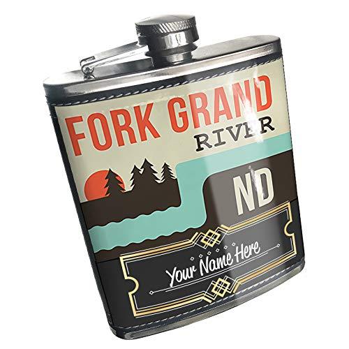 Neonblond Flask USA Rivers North Fork Grand River - North Dakota Custom Name Stainless Steel ()