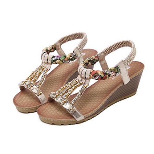 Femmes Sandales Beach Toe Confort Forme Robe Bohème Plate avec Summer Coins de Ouvert Strass Sandales Or Rqxw4RrF