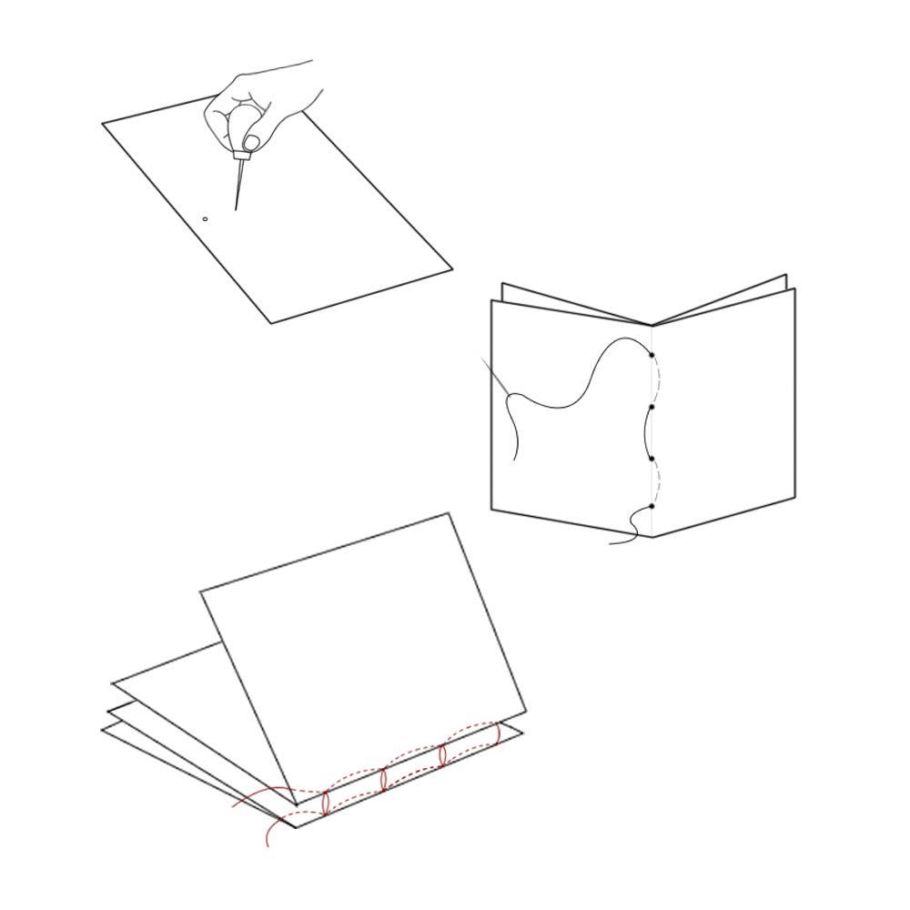 Sourceton agujas de gran ojo para manualidades y suministros de costura hechos a mano con mango de madera de lino encerado Juego de 16 herramientas para encuadernar libros