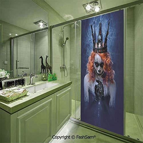 PUTIEN Door Glass Sticker Queen of Death Scary Body Art Halloween Evil Face Bizarre Make Up Zombie for Bedroom Glass Privacy(W23.6xL78.7)]()