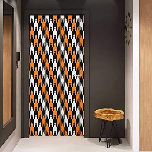 Door Sticker Halloween Digital Style Catstooth Pattern Pixel Spooky Harvest Fashion Illustration Glass Film for Home Office W23 x H70 Orange Black White -