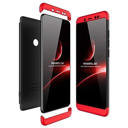 JMGoodstore Funda Compatible Xiaomi Redmi Note 5 Pro,Carcasa Redmi Note 5 Pro,360 Grados Integral Ambas Caras+Cristal Templado,3 in 1 Slim Dactilares ...