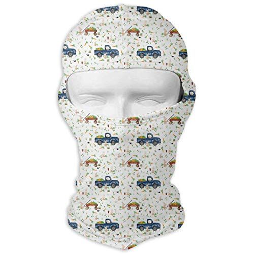 Wind-Resistant Balaclava Hood, Easter Bunny Trucks and Wagons Full Face Mask Hood for Skateboard White ()