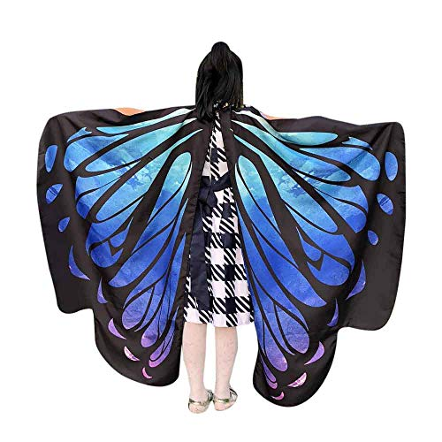 VEFSU Kid Baby Girl Butterfly Wings Party Shawl Scarves Nymph Pixie Poncho Costume Accessory (Sky Blue) ()