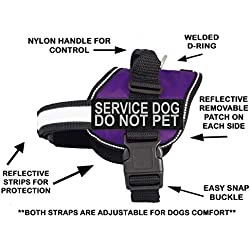 "Doggie Stylz Service Dog Harness Vest Comes with 2 Reflective Service Dog DO NOT PET Removable Patches. Please Measure Dog Before Ordering (Girth 24-31"", Purple)"