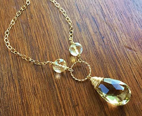 Large Honey Quartz and Citrine Gemstone Necklace 14K Gold Filled 20 Inches Adjustable ()