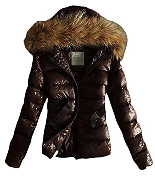 Fur Cappotto Hooded Big Tang Womens Faux Warm Glossy Puffer Outwear Down ERwHYAwq