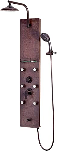 Pulse 1041 Sedona ShowerSpa Panel with 8 Rain Showerhead, 6 Body Spray Jets, 5-Function Hand Shower, Glass Shelf, Tub Spout, Hammered Copper with Oil-Rubbed Bronze Fixtures