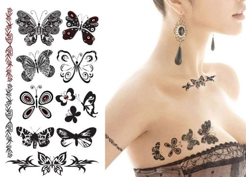 Amazoncom Supperb Temporary Tattoos Black White Butterflies