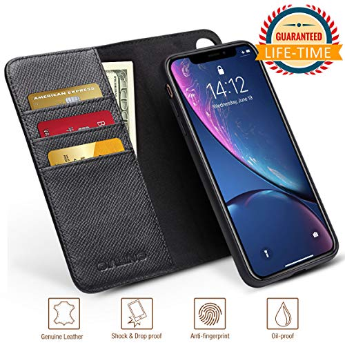 iPhone X XS Case Wallet Detachable Luxury Genuine Leather Protective Cases with Card Holder for Men Anti-Slip Flip Covers Magnetic Car Mount Black (iPhone X/Xs, - Wallet Car Case