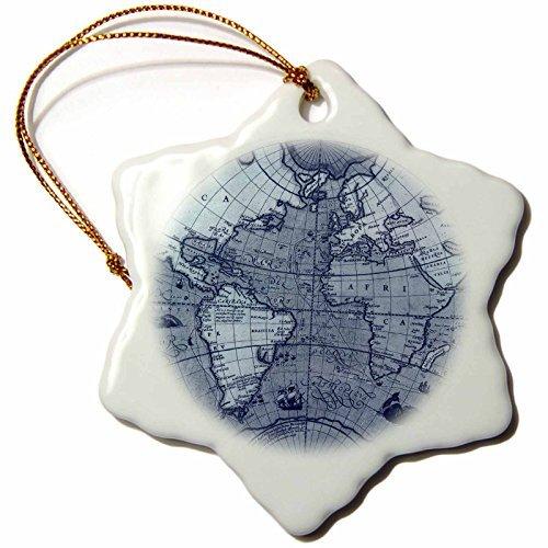 Vehfa Snowflake OrnamentVintage Globe World MapSnowflake Ornament