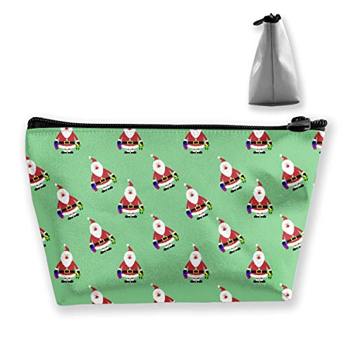 (Homlife Santa Claus Clipart Cosmetic Tote Bag Carry Case - Large Trapezoidal Storage Pouch - Travel Accessories Portable Make-up Bag)
