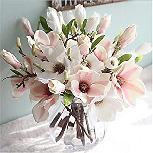 JJH 1 Branch Silk Magnolia Tabletop Flower Artificial Flowers Home Decoration Wedding 33