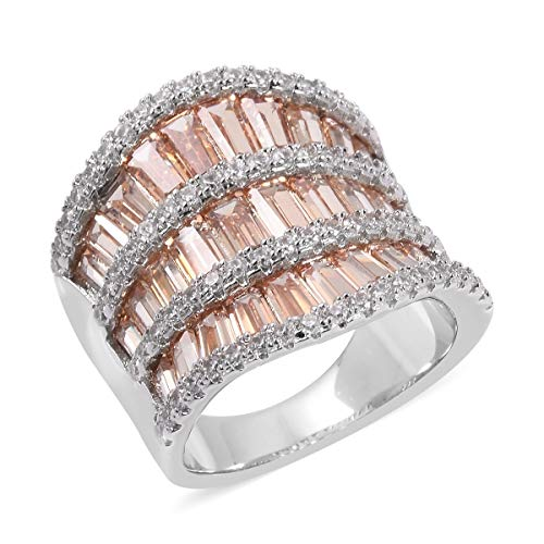 oy Silvertone Cubic Zircon Champagne White Cubic Zirconia CZ Anniversary Ring for Women Size 8 Cttw 5.2 ()