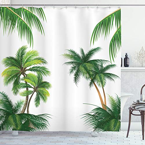 Ambesonne Tropical Shower Curtain, Coconut Palm Tree Nature Paradise Plants Foliage Leaves Digital Illustration, Cloth Fabric Bathroom Decor Set with Hooks, 70
