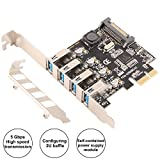 Ubit 5Gbps USB PCIE Expansion Card Superspeed PCI Express to 4-Port USB 3.0 PCI-E Expansion Card with 15-Pin SATA Power Connector, Supported UASP for PC Desktops Windows 7/8/8.1/1