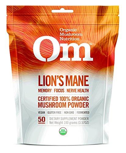 Om Organic Mushroom Nutrition Lion's Mane: Memory, Focus, Nerve Health,  50 servings, 3.57oz, 100 grams