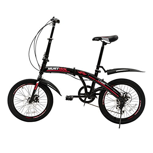 "Uenjoy Murtisol 20"" Foldable Bike 7 Speed Folding City Commuter Bicycle Shimano Dreailleur Disc Brake Red Black"