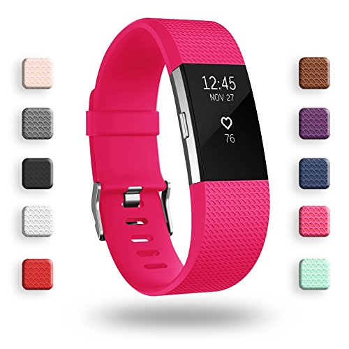 POY Replacement Bands Compatible for Fitbit Charge 2, Classic Edition Adjustable Sport Wristbands, Small Rose ()