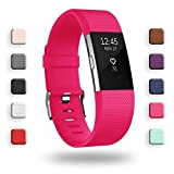 POY Replacement Bands Compatible for Fitbit Charge 2, Classic Edition Adjustable Sport Wristbands, Small Rose