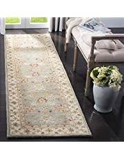 Safavieh Antiquity Collection AT822A Handmade Grey Blue and Beige Wool Runner, 2 Feet 6-Inch by 18 Feet