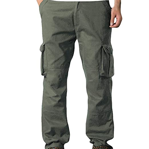 Men Cargo Pants Mens Casual Mid Waist Pocket Overalls Sport Work