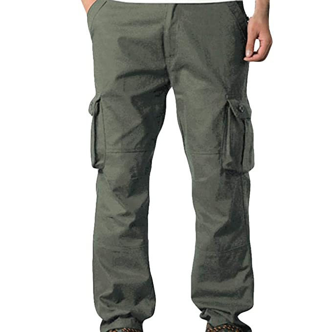 bce237837dc4 Amazon.com  Men Cargo Pants - Mens Casual Mid Waist Pocket Overalls Sport  Work Trousers  Clothing