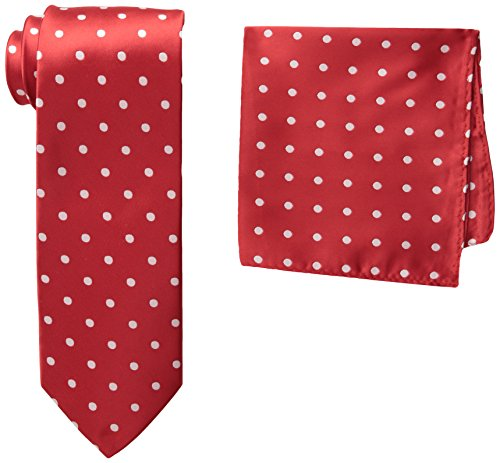 Stacy Adams Men's Satin Dot Tie Set, Fire Red, One (Red Polka Dot Satin)