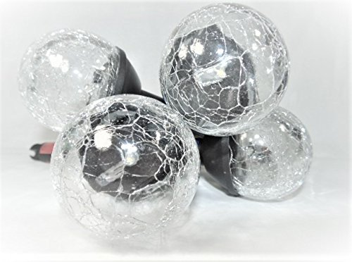 Solar Powered Crackle Ball 8 Pack Black Finish Outdoor Landscape Gardens, Pathways, Driveways, TreeHouses and Campsites. Lumen Shines With A Warm White Light Glow. Eight hours of Sun Powered Light.