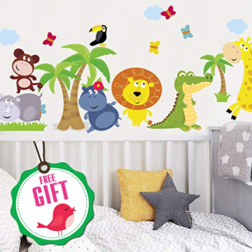 (Animal Safari Jungle Vinyl Wall Decal for Kids Bedroom playroom - Decorative Art Stickers for Baby Girl Boy Wall Decor - Nursery Wall Stickers [24 Art clings] - Wall Decals)