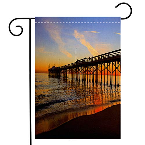 (BEIVIVI Creative Home Garden Flag Balboa Pier Orange County California Welcome House Flag for Patio Lawn Outdoor Home Decor )