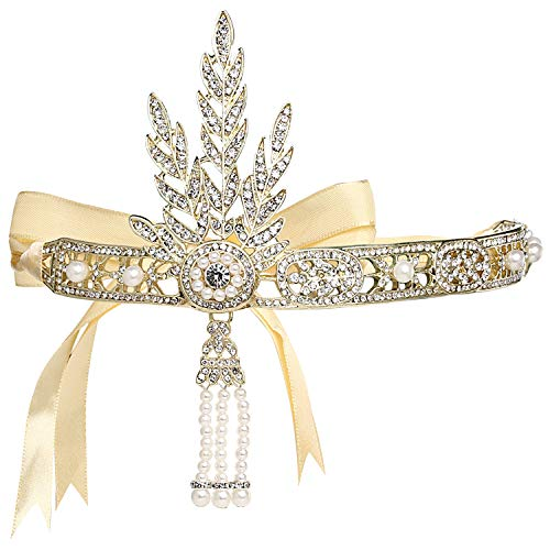 Coucoland Bling Gold-Tone The Great Gatsby Inspired Flapper Leaf Simulated Pearl Wedding Tiara Headpiece Gold