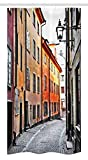 Ambesonne Wanderlust Decor Stall Shower Curtain by, Streets of Stockholm, Old Town Famous Landmark Narrow Pavement European, Fabric Bathroom Decor Set with Hooks 36 W x 72 L Inches,