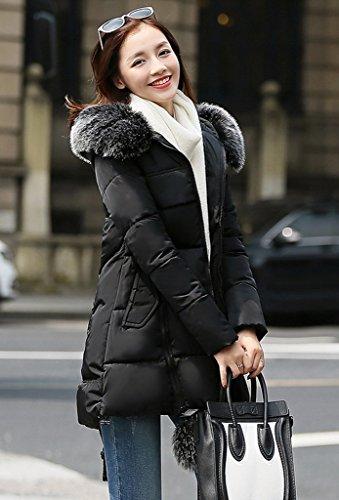 3xl Con Tight Star Pom Bigood Cerniera Lady Cappotto Nero Korean Cappuccio q1xXvXg