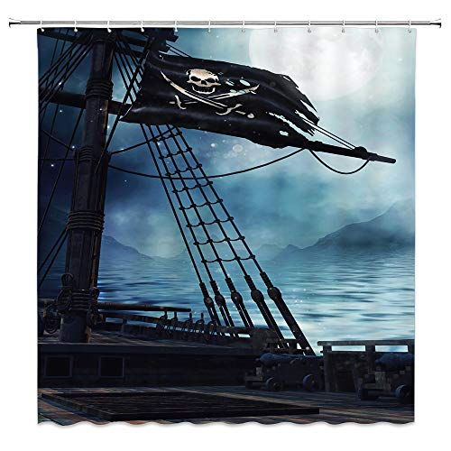 AMNYSF Vintage Pirate Ship Decor Shower Curtain Fantasy Ocean Scenery Deck Black Flag Blue Sea Water Fabric Bathroom Curtains,70x70 Inch Waterproof Polyester with Hooks -