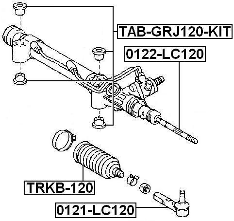 FEBEST TAB-GRJ120-KIT Arm Bushing Kit for Steering Gear