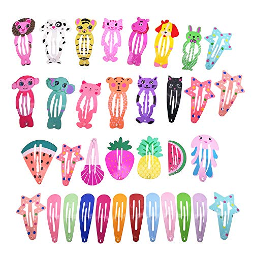 - 35 Pcs Animal Pattern Print Metal Snap Hair Clips For Girls Hair Accessories