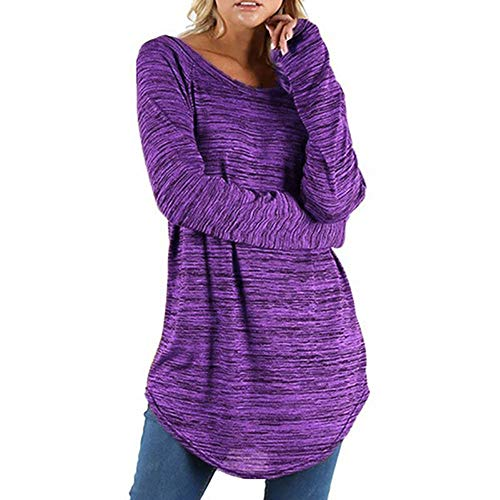 NREALY Women's Plus Size Solid Color RounLong Sleeve Blouse Pullover Tops Shirt -