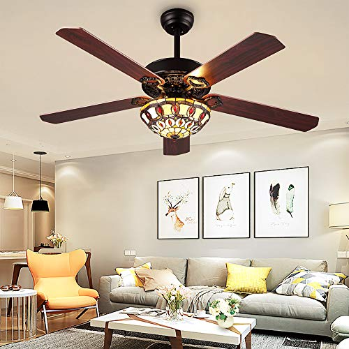 RainierLight Modern Ceiling Fans Led Light with 5 Wood Reversible Blades for Living Room/Bedroom/Dinning Room Remote Control 3 Speed(Low,Medium,High) Quiet Fan/Home Decoration (52-Inch) - Light Tiffany Ceiling Fan