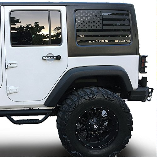 Jeep Wrangler | Precut USA Flag Window Decals | Matte Black American Vinyl for Rear Side Window JKU 2007 – 2017 | Includes Pair | Cut To Shape / No Trimming Required + Free Installation Tool