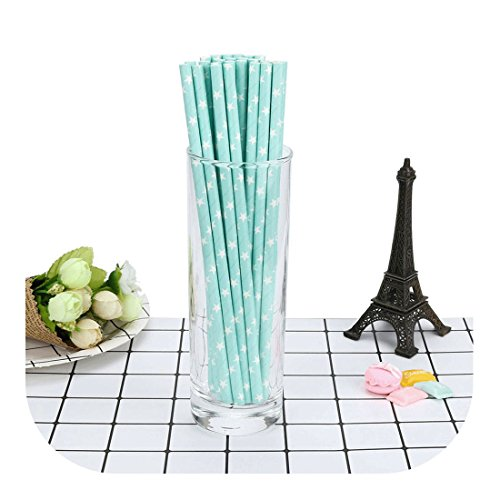 (Molyveva Paper Straws - Biodegradable Drinking Straws - Multicolor Rainbow Sticks with Star Designs for Wedding Birthday Party Drinking Decoration Favor Supplies - Pack of 25 Pieces (Tender Blue))