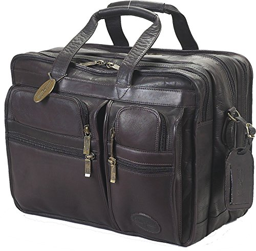 Double Wide Cafe - Claire Chase Executive Leather Laptop Briefcase X-wide, Computer Bag in Cafe