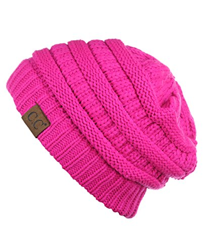 ( Unisex Trendy Warm Chunky Soft Stretch Cable Knit Slouchy Beanie Skully)