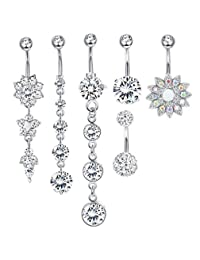 LOYALLOOK 4-6Pcs Dangle Belly Button Rings for Women Girls Navel Rings Curved Barbell CZ Body Piercing 14G