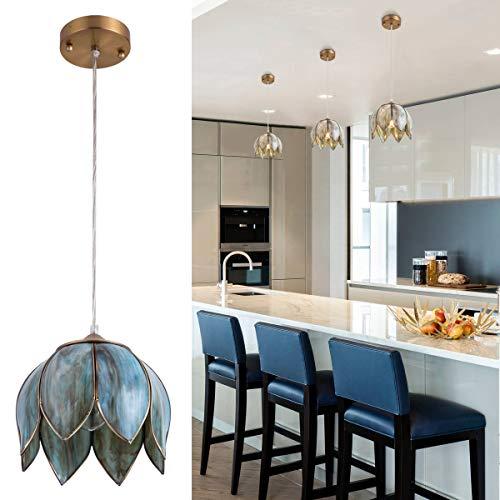 YIFI Pendant Lighting Vintage Oriental Lotus Brass Ceiling Pendant Light Fixture for Kitchen Island Dining Room Bedroom Living Room, Emerald