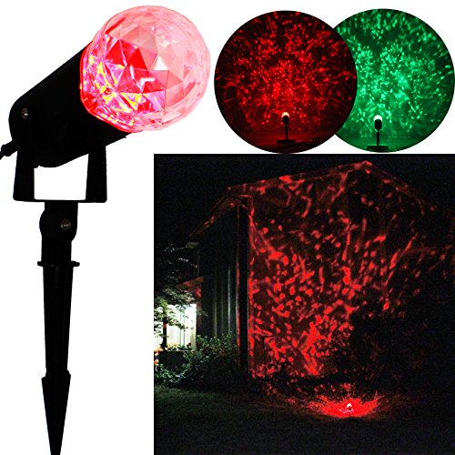 Joiedomi Rotating Outdoor LED Spotlight Light Show Red and Green for Winter Holiday Christmas Decorations Kaleidoscope Projection Light